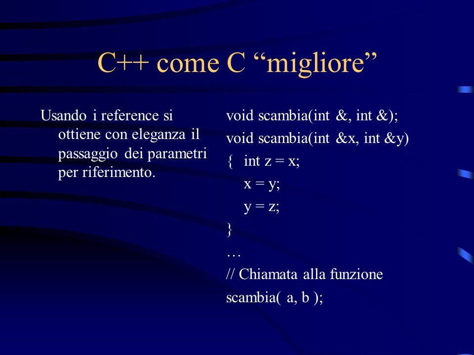 C++ come C migliore Usando i reference si ottiene con eleganza il passaggio dei parametri per riferimento.