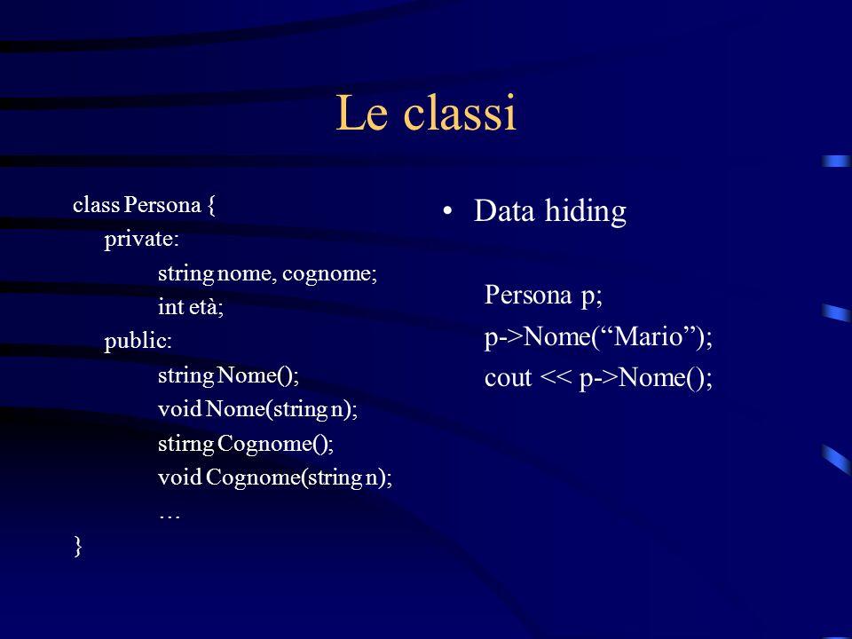 Le classi Data hiding Persona p; p->Nome( Mario );