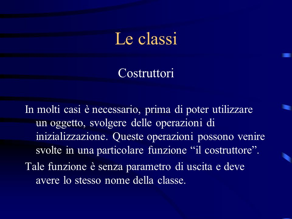 Le classi Costruttori.
