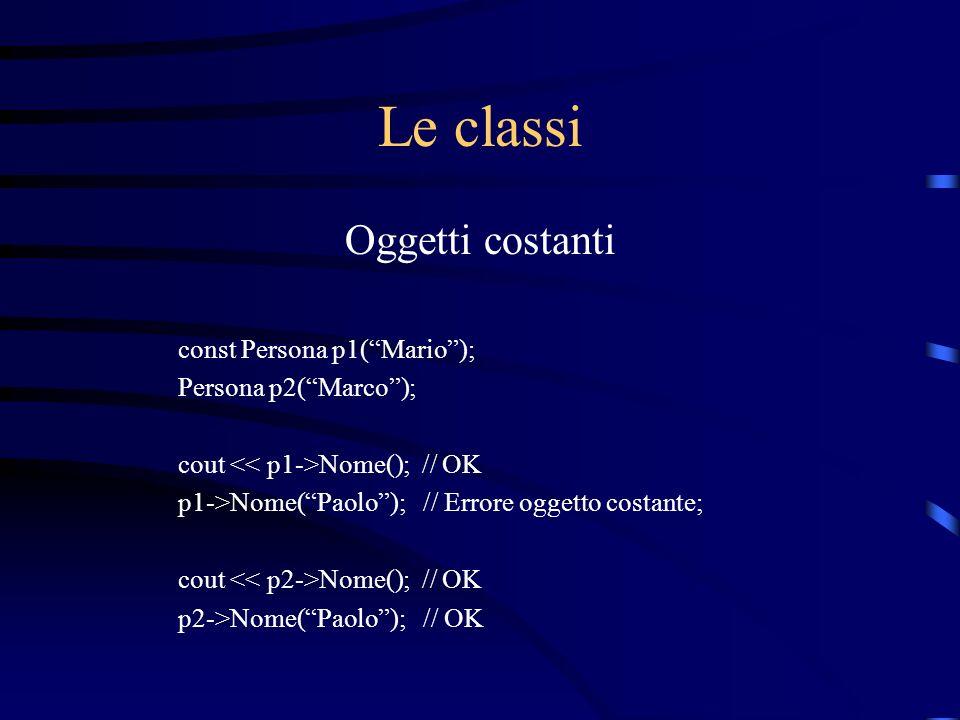 Le classi Oggetti costanti const Persona p1( Mario );