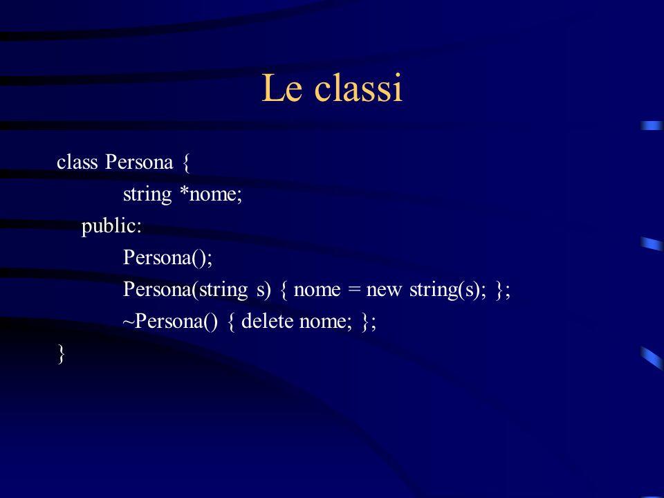 Le classi class Persona { string *nome; public: Persona();