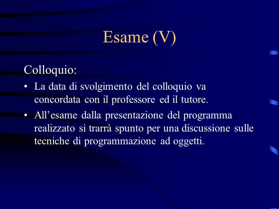 Esame (V) Colloquio: La data di svolgimento del colloquio va concordata con il professore ed il tutore.
