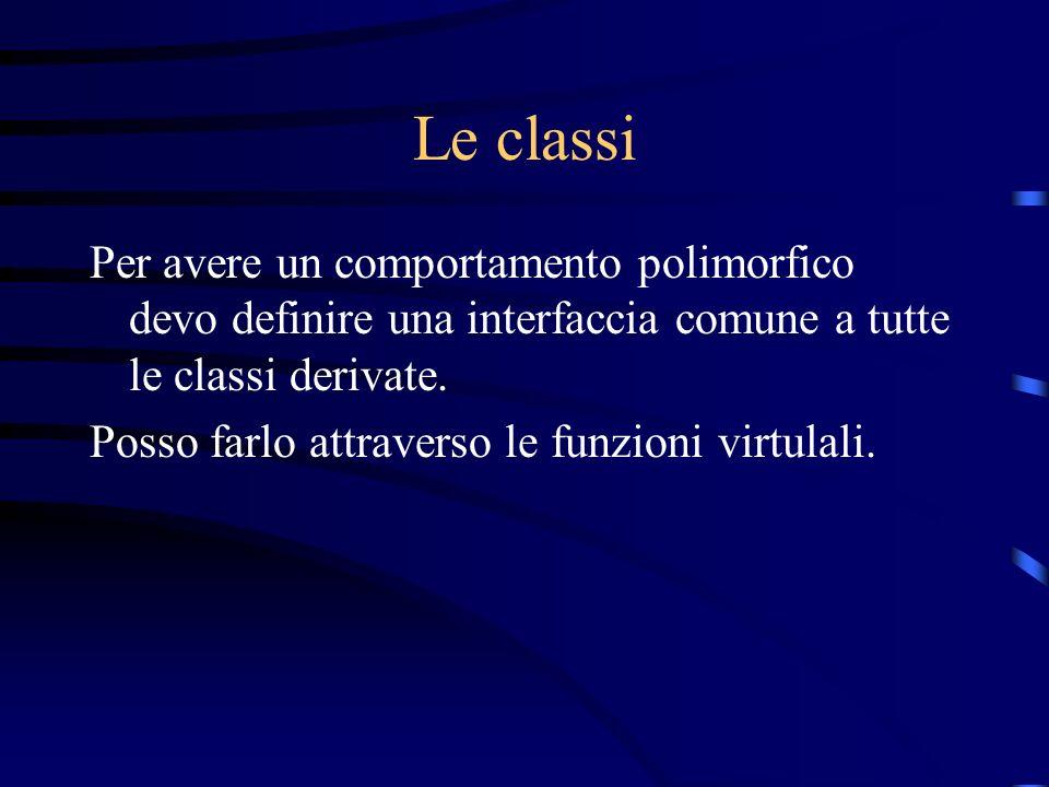 Le classi Per avere un comportamento polimorfico devo definire una interfaccia comune a tutte le classi derivate.