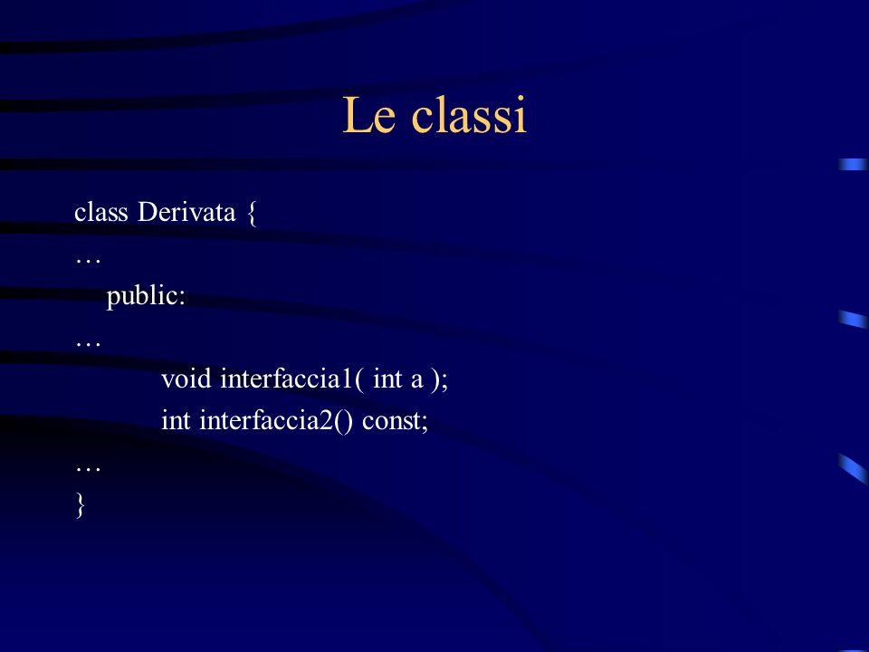 Le classi class Derivata { … public: void interfaccia1( int a );