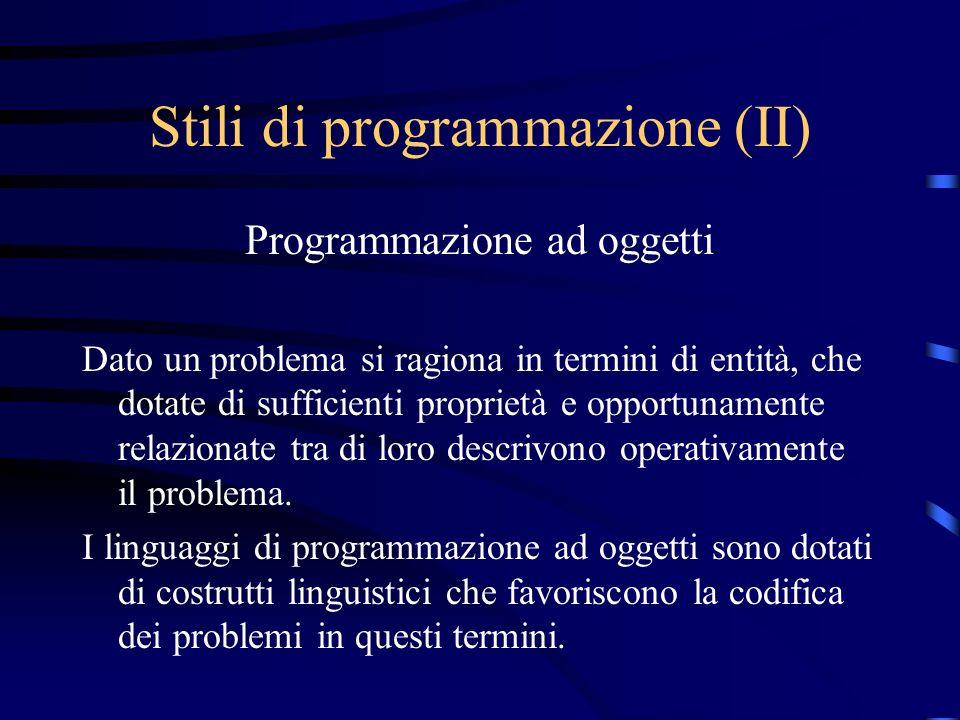 Stili di programmazione (II)