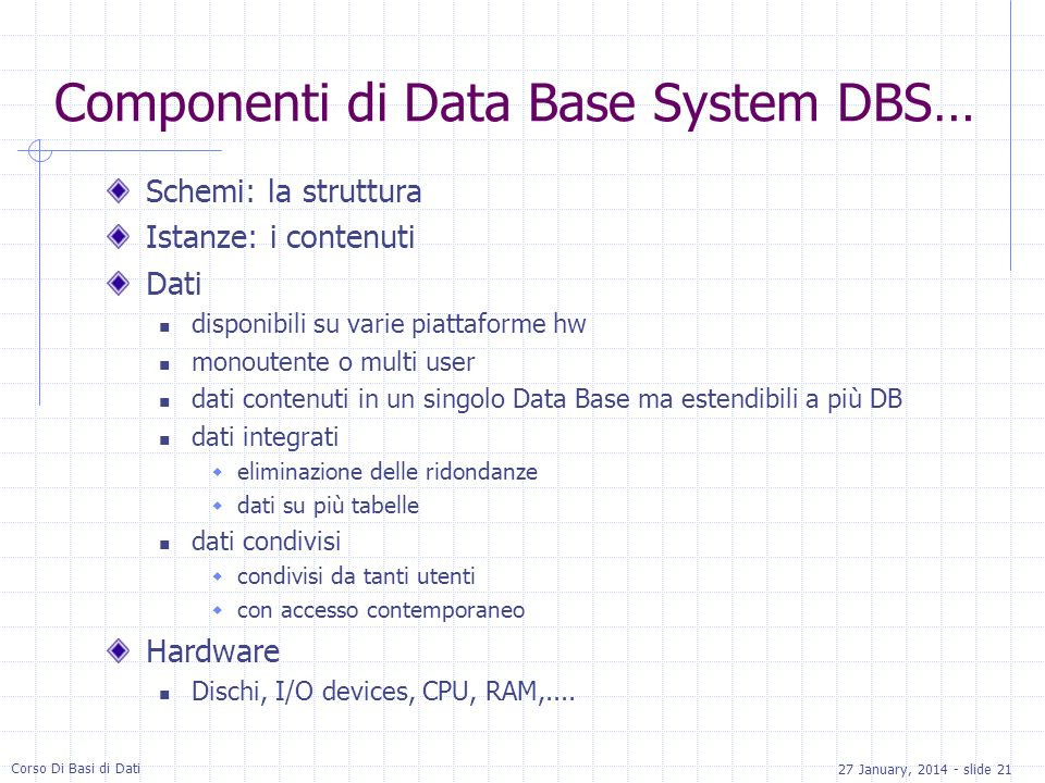 Componenti di Data Base System DBS…