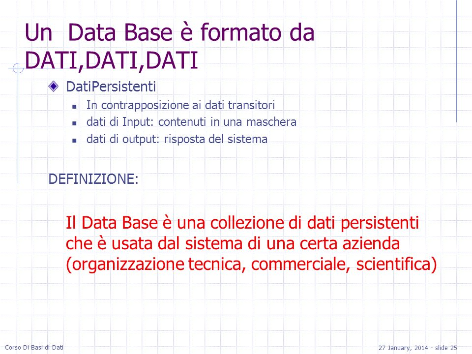 Un Data Base è formato da DATI,DATI,DATI