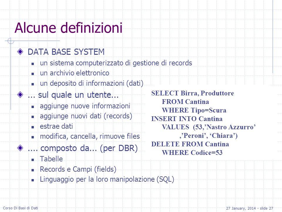 Alcune definizioni DATA BASE SYSTEM ... sul quale un utente...