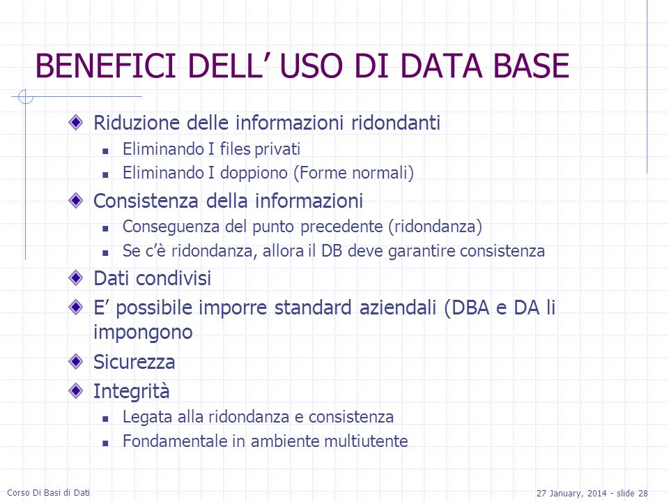BENEFICI DELL' USO DI DATA BASE