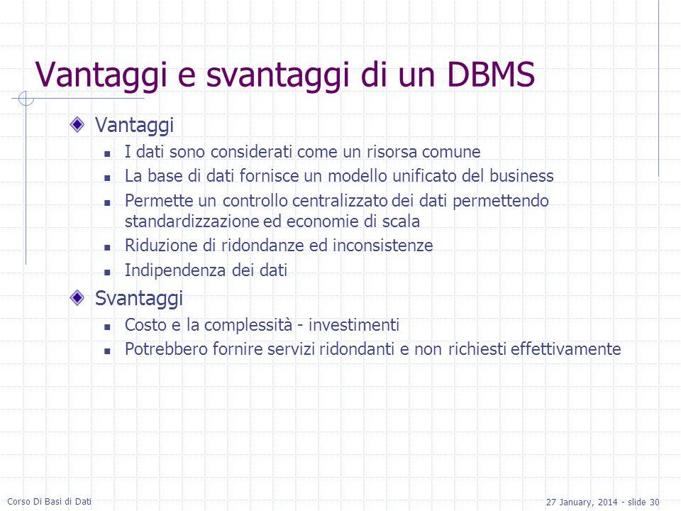 Vantaggi e svantaggi di un DBMS