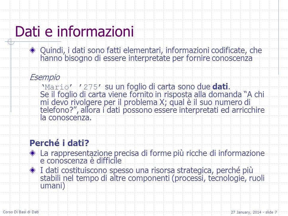 Dati e informazioni Perché i dati