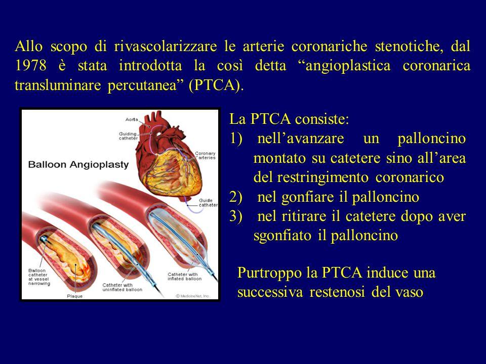 Allo scopo di rivascolarizzare le arterie coronariche stenotiche, dal 1978 è stata introdotta la così detta angioplastica coronarica transluminare percutanea (PTCA).