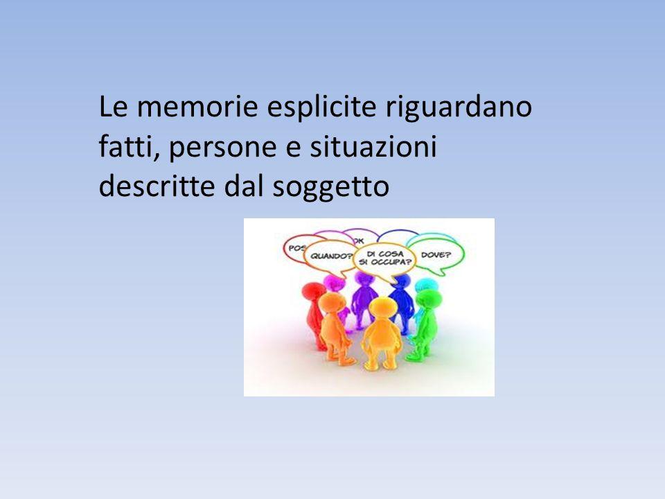 Le memorie esplicite riguardano fatti, persone e situazioni