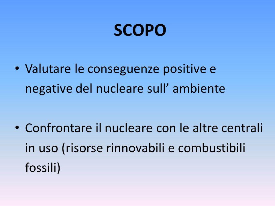 SCOPO Valutare le conseguenze positive e negative del nucleare sull' ambiente.