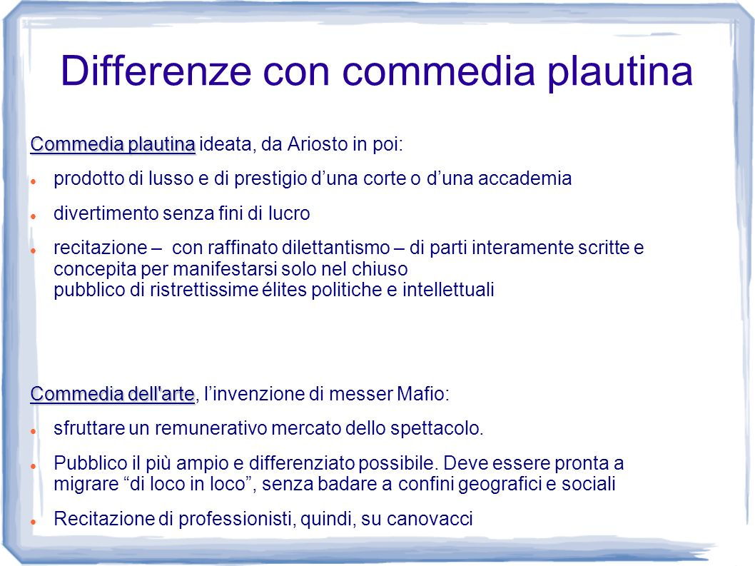 Differenze con commedia plautina