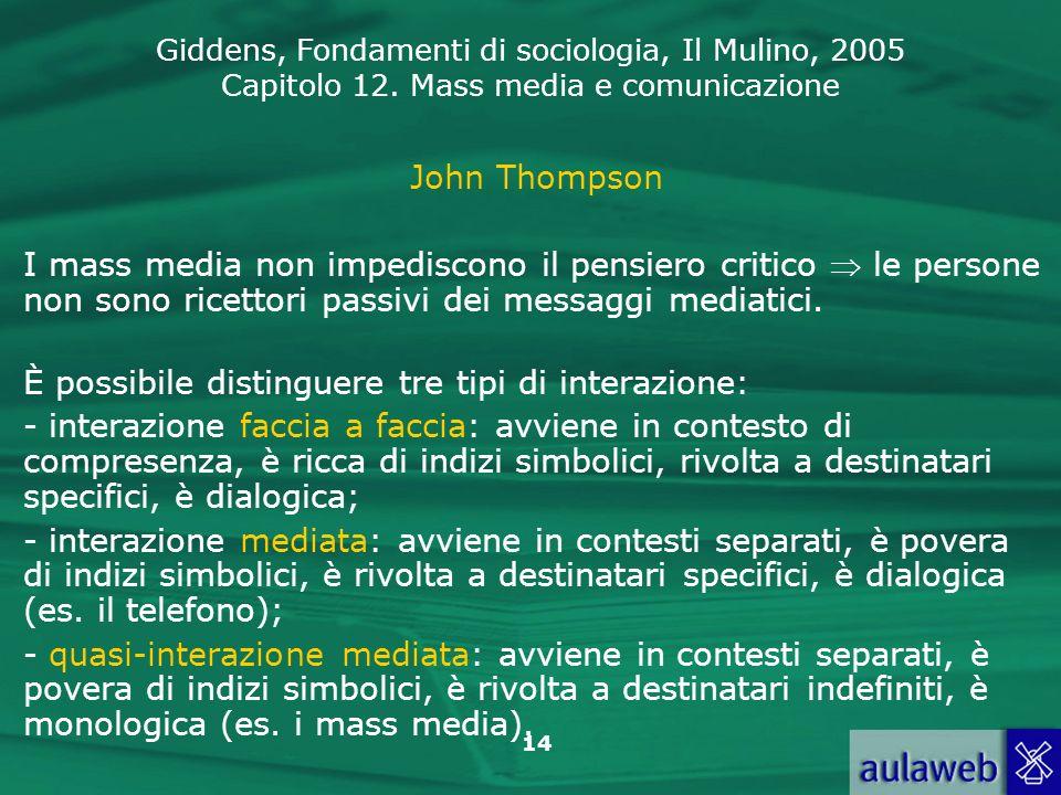John Thompson I mass media non impediscono il pensiero critico  le persone non sono ricettori passivi dei messaggi mediatici.