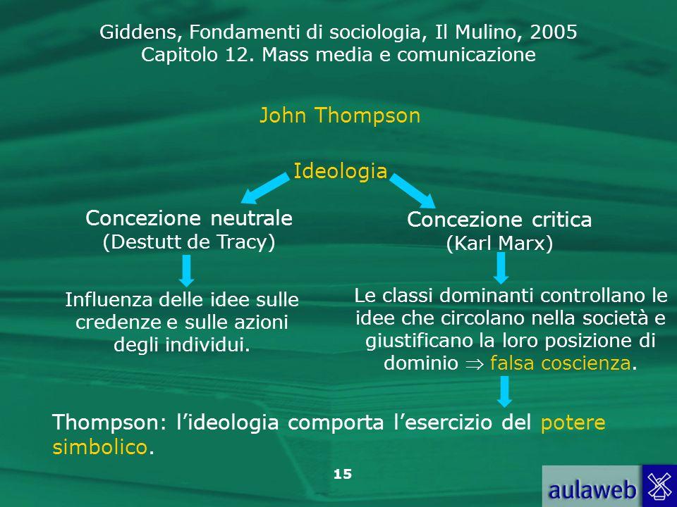 Concezione neutrale (Destutt de Tracy) Concezione critica (Karl Marx)