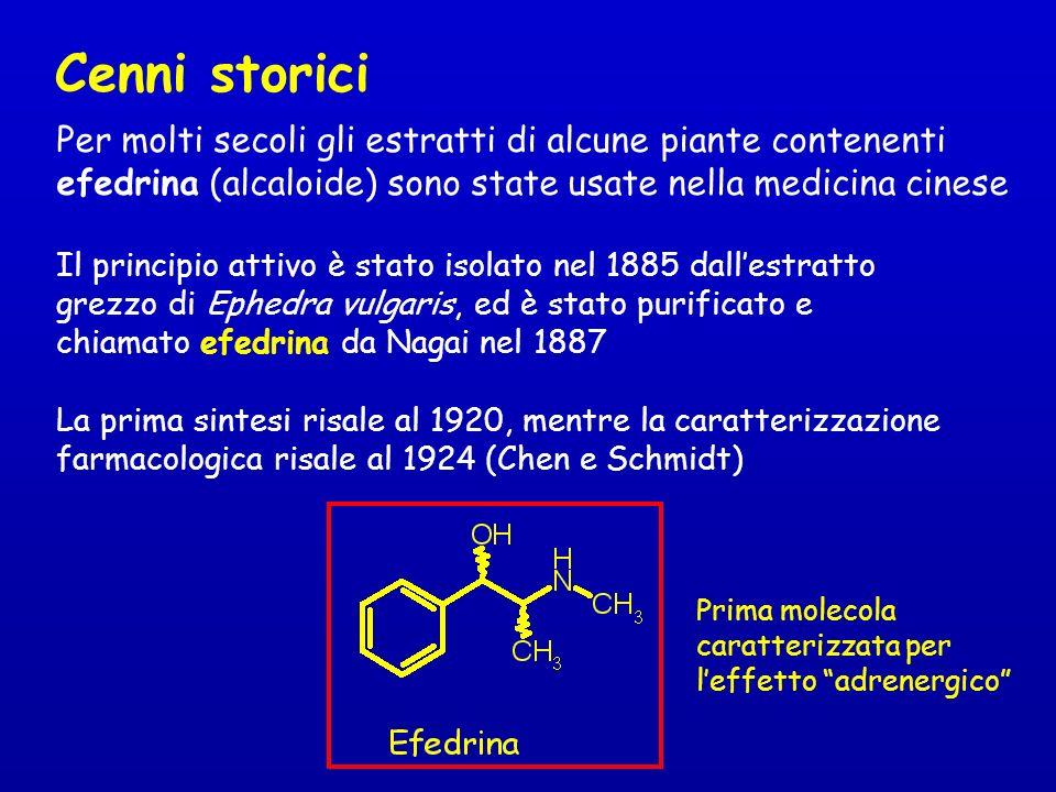 Cenni storici Per molti secoli gli estratti di alcune piante contenenti. efedrina (alcaloide) sono state usate nella medicina cinese.
