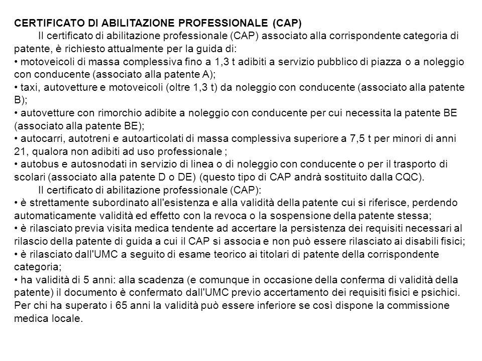 CERTIFICATO DI ABILITAZIONE PROFESSIONALE (CAP)