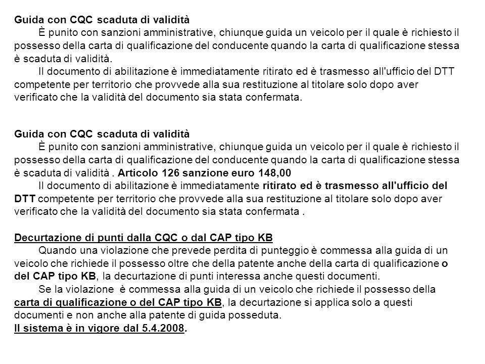 Guida con CQC scaduta di validità