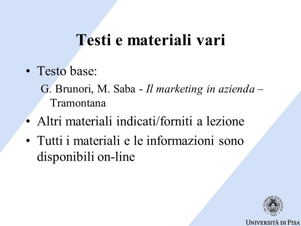 Testi e materiali vari Testo base: