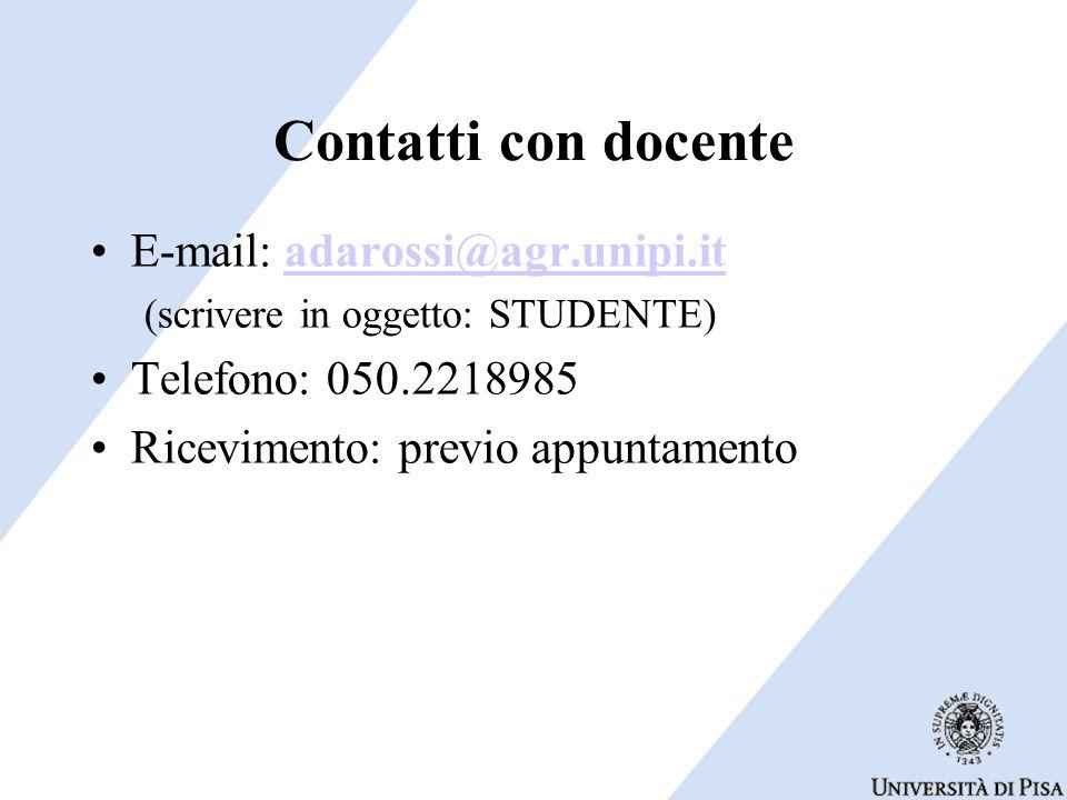 Contatti con docente E-mail: adarossi@agr.unipi.it