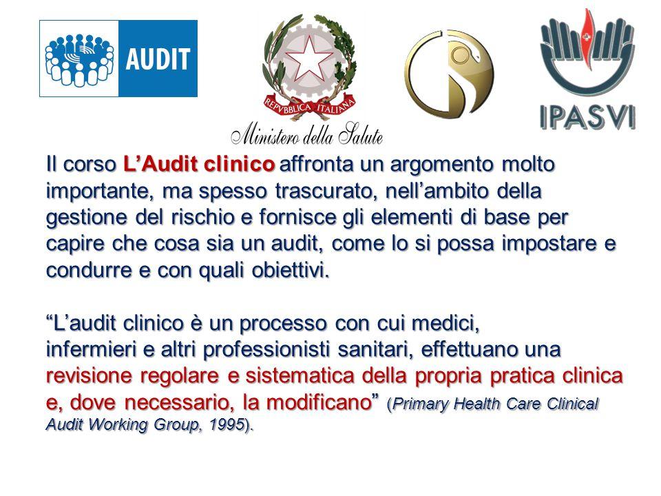 Il corso L'Audit clinico affronta un argomento molto importante, ma spesso trascurato, nell'ambito della gestione del rischio e fornisce gli elementi di base per capire che cosa sia un audit, come lo si possa impostare e condurre e con quali obiettivi.