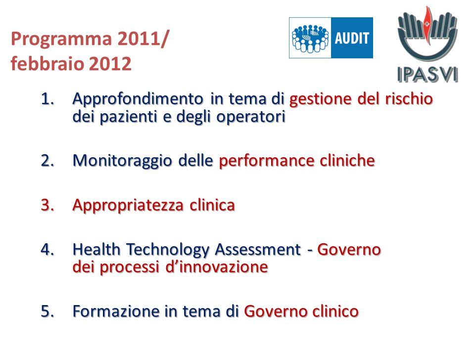 Programma 2011/ febbraio 2012 Approfondimento in tema di gestione del rischio dei pazienti e degli operatori.