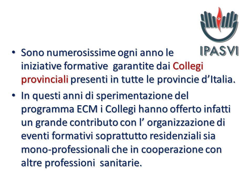 Sono numerosissime ogni anno le iniziative formative garantite dai Collegi provinciali presenti in tutte le provincie d'Italia.