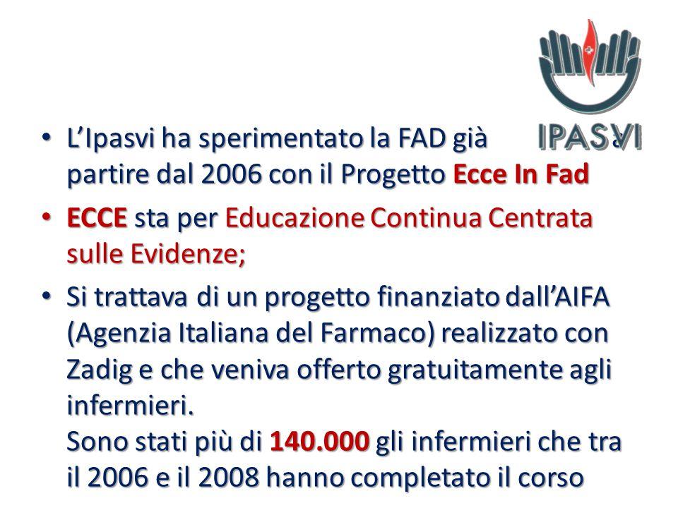 L'Ipasvi ha sperimentato la FAD già a partire dal 2006 con il Progetto Ecce In Fad