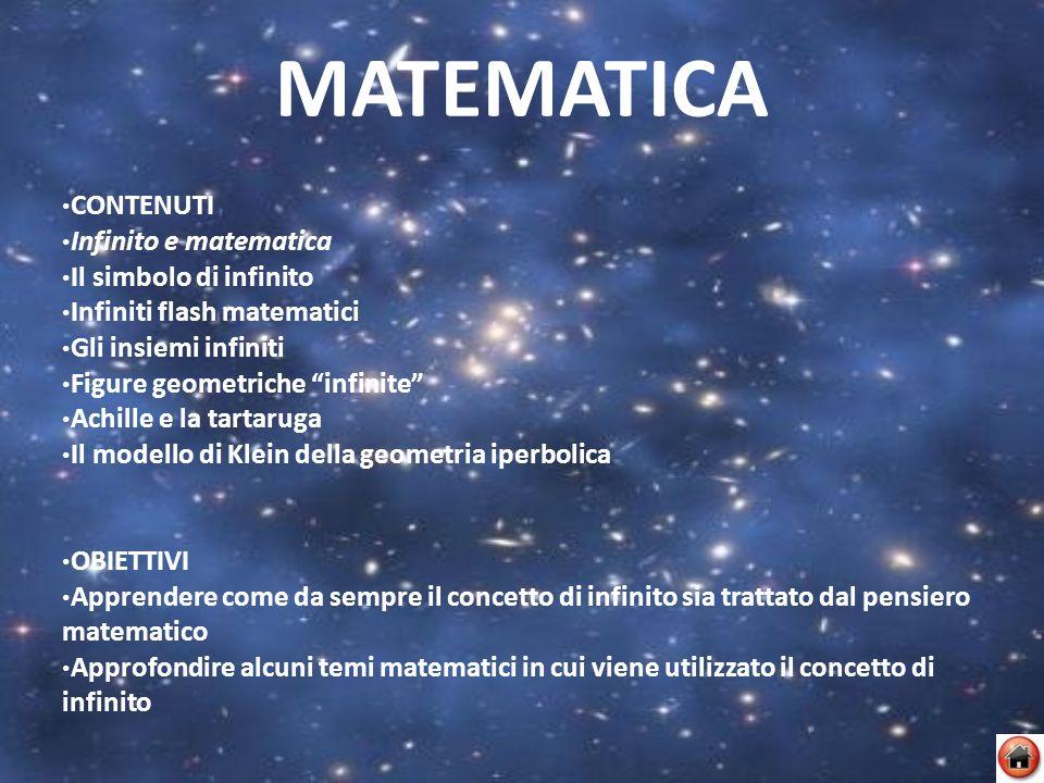 MATEMATICA CONTENUTI Infinito e matematica Il simbolo di infinito