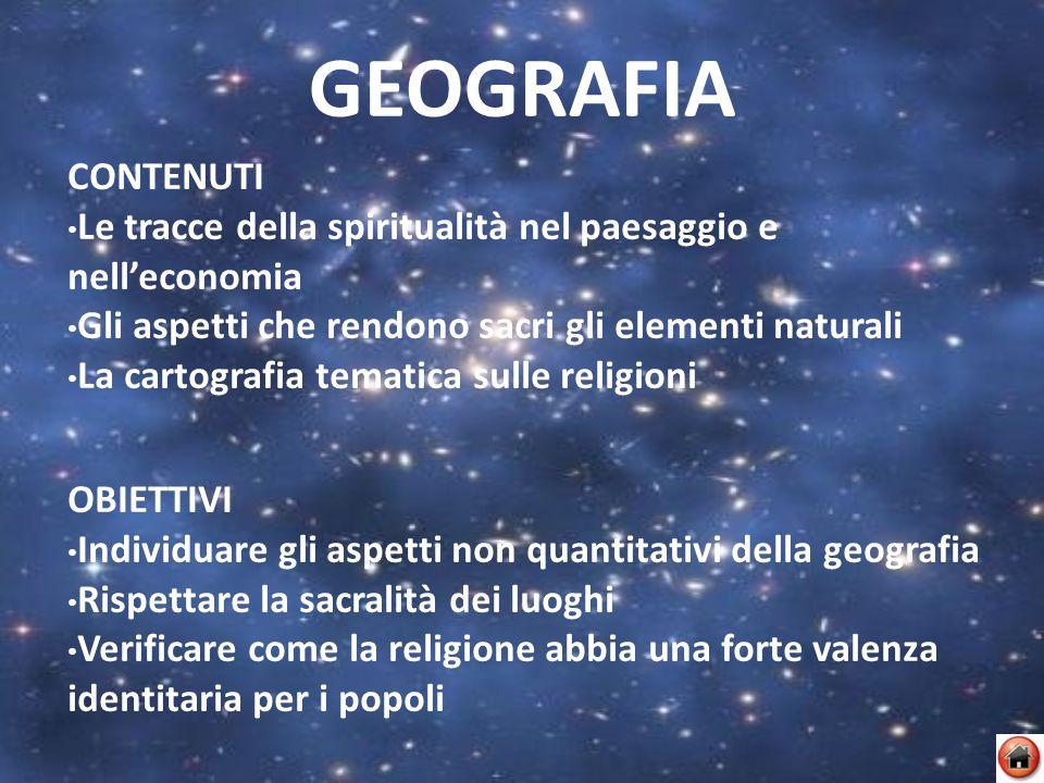 GEOGRAFIA CONTENUTI. Le tracce della spiritualità nel paesaggio e nell'economia. Gli aspetti che rendono sacri gli elementi naturali.