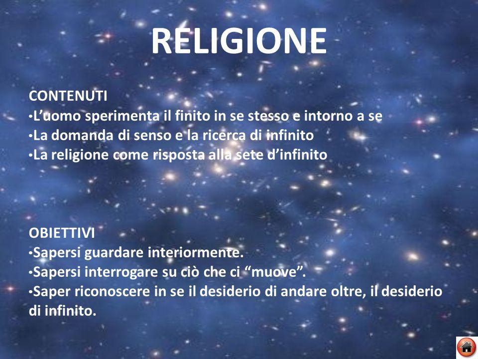 RELIGIONE CONTENUTI. L'uomo sperimenta il finito in se stesso e intorno a se. La domanda di senso e la ricerca di infinito.
