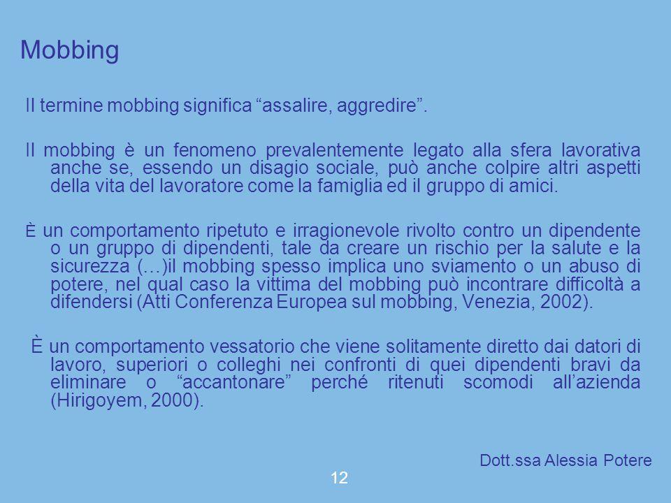Mobbing Il termine mobbing significa assalire, aggredire .