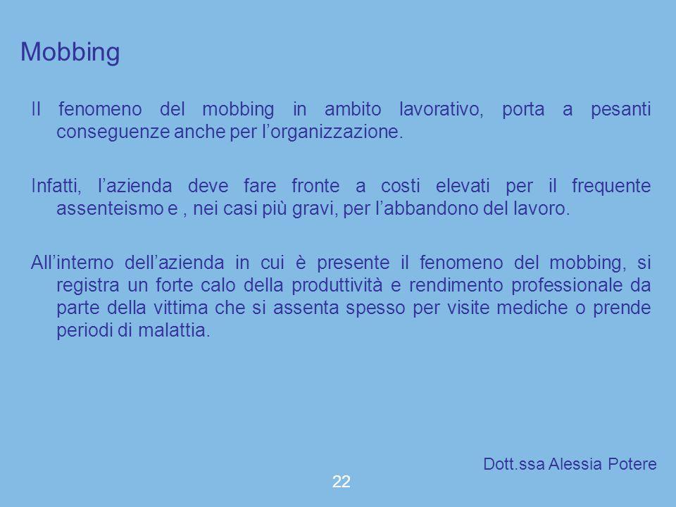 Mobbing Il fenomeno del mobbing in ambito lavorativo, porta a pesanti conseguenze anche per l'organizzazione.