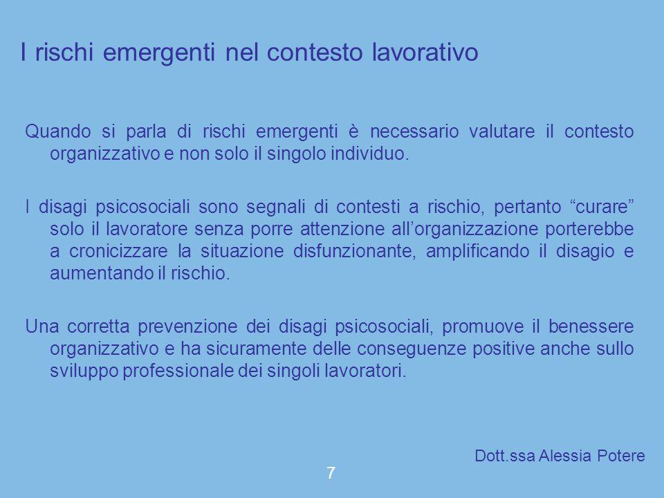 I rischi emergenti nel contesto lavorativo