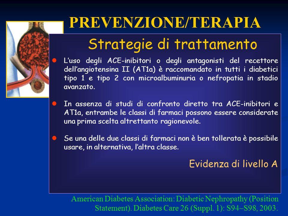 PREVENZIONE/TERAPIA Strategie di trattamento Evidenza di livello A