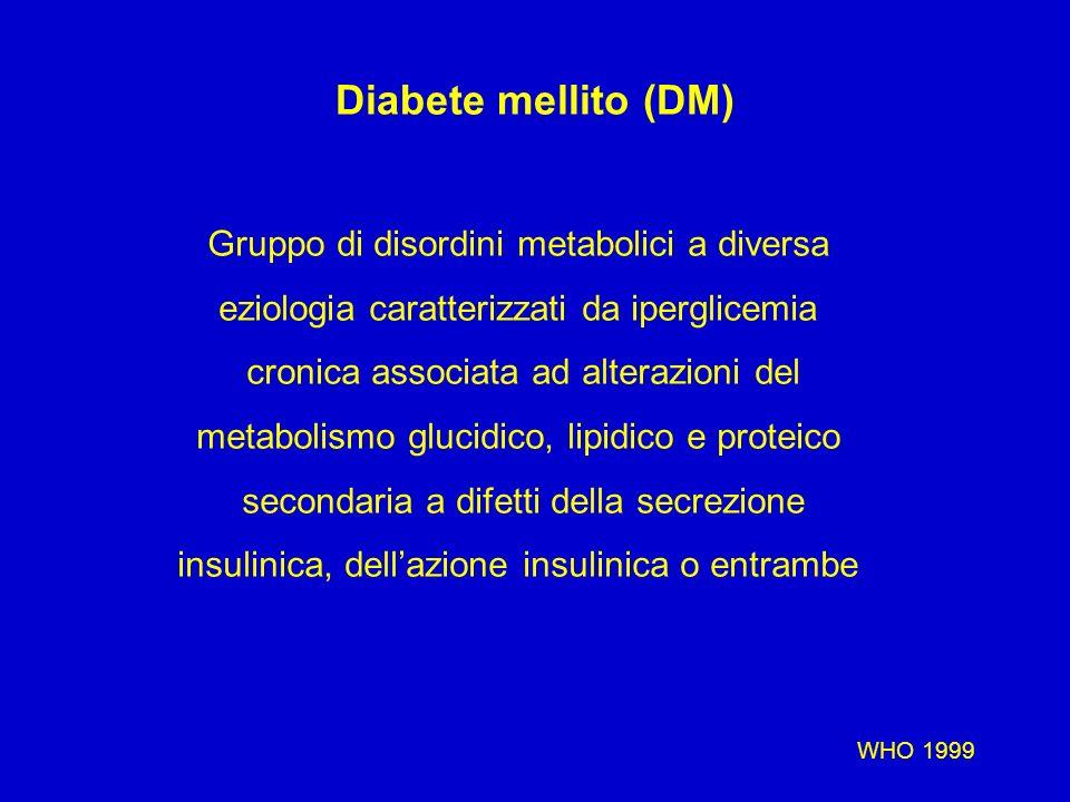 Diabete mellito (DM) Gruppo di disordini metabolici a diversa