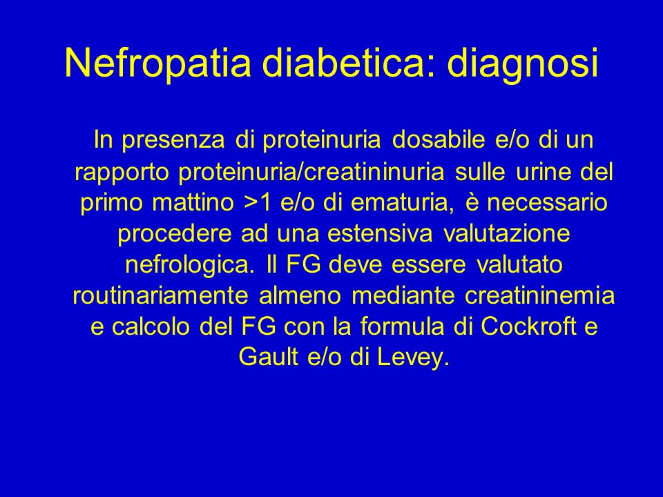 Nefropatia diabetica: diagnosi