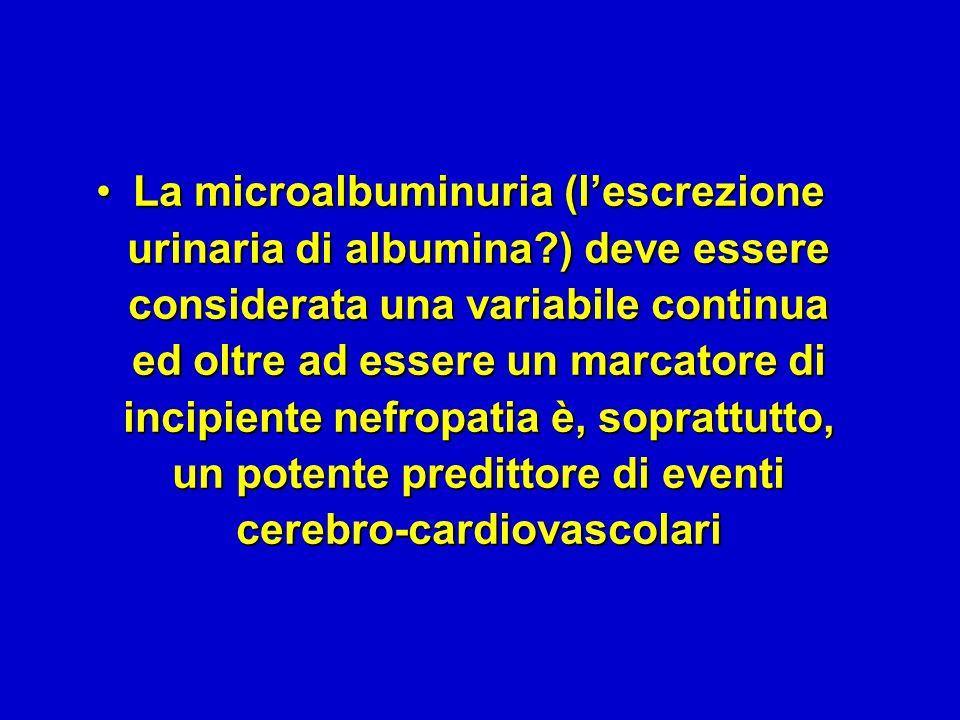 La microalbuminuria (l'escrezione urinaria di albumina