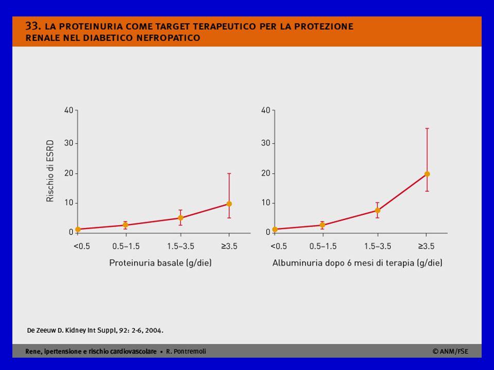 Non soltanto la proteinuria basale è importante per la prognosi renale del paziente ma anche, e soprattutto, sono importanti le variazioni di proteinuria in corso di terapia. Nello studio RENAAL in pazienti diabetici di tipo 2 con nefropatia conclamata, il rischio di ESRD era legato ai valori di proteinuria riscontrati dopo sei mesi di terapia (a destra) in misura più significativa dei valori basali