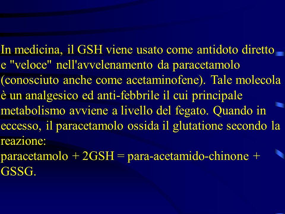 In medicina, il GSH viene usato come antidoto diretto e veloce nell avvelenamento da paracetamolo (conosciuto anche come acetaminofene). Tale molecola è un analgesico ed anti-febbrile il cui principale metabolismo avviene a livello del fegato. Quando in eccesso, il paracetamolo ossida il glutatione secondo la reazione: