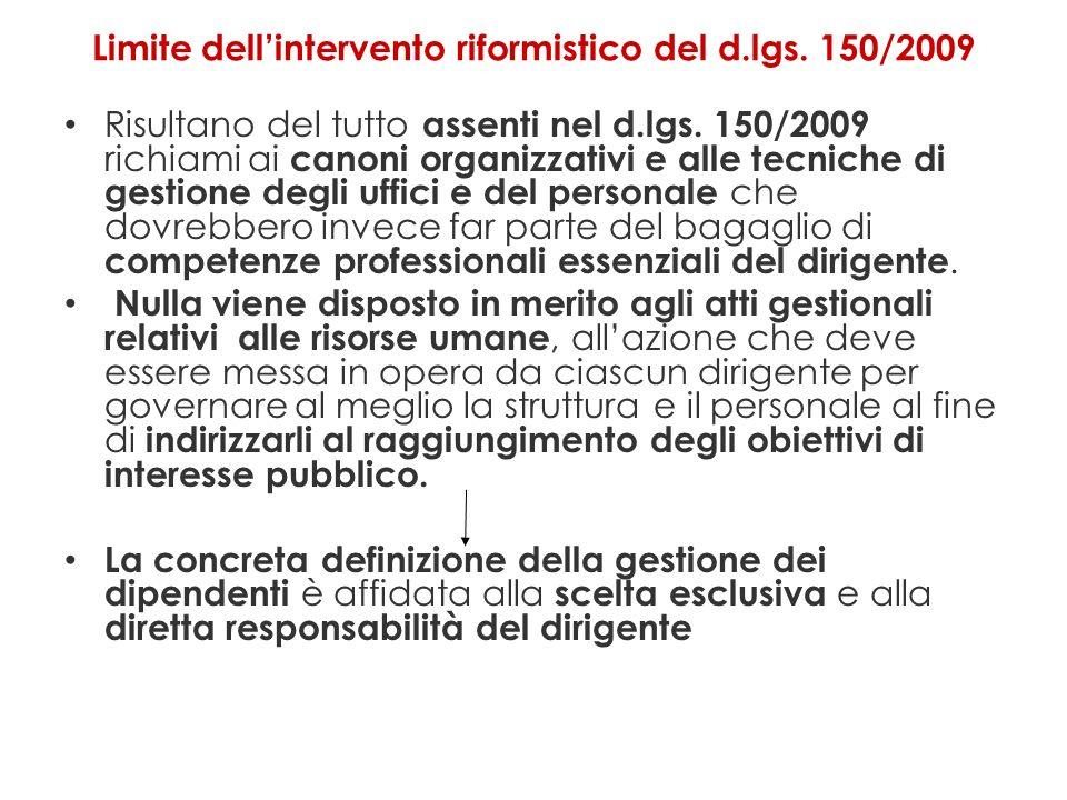 Limite dell'intervento riformistico del d.lgs. 150/2009