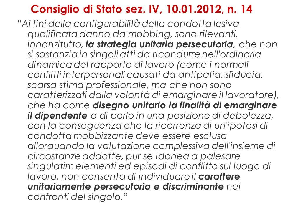 Consiglio di Stato sez. IV, 10.01.2012, n. 14