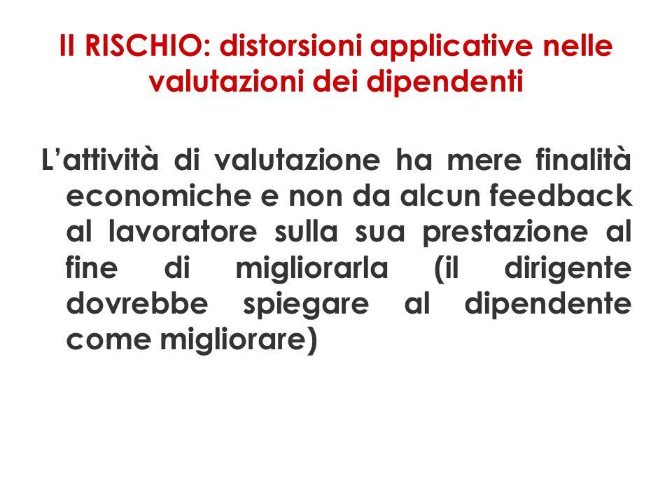 II RISCHIO: distorsioni applicative nelle valutazioni dei dipendenti