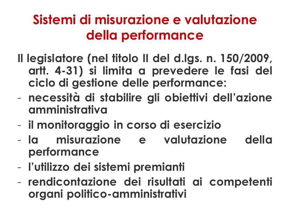 Sistemi di misurazione e valutazione della performance
