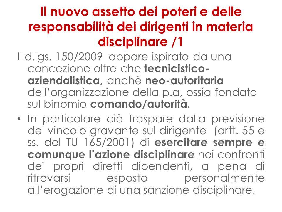 Il nuovo assetto dei poteri e delle responsabilità dei dirigenti in materia disciplinare /1