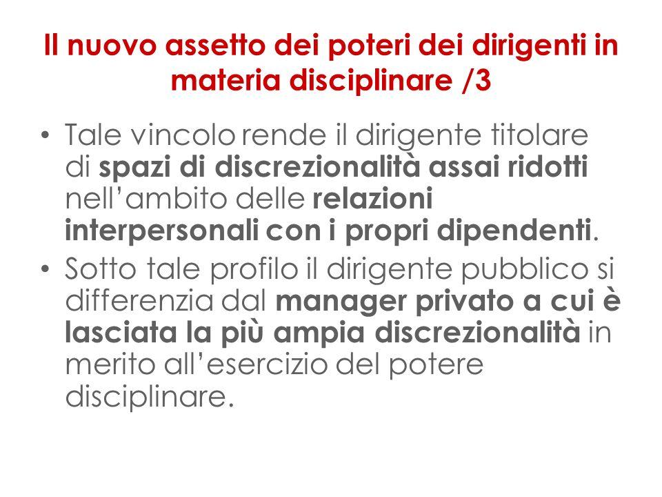 Il nuovo assetto dei poteri dei dirigenti in materia disciplinare /3