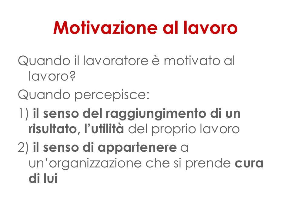 Motivazione al lavoro Quando il lavoratore è motivato al lavoro