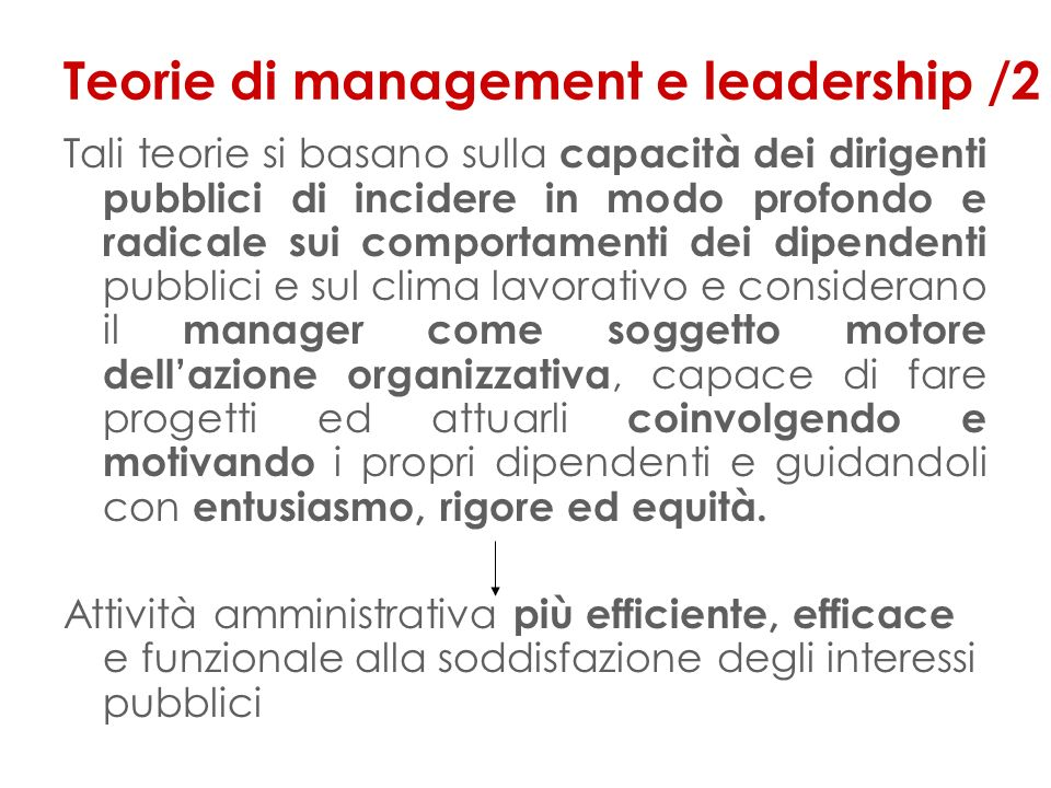 Teorie di management e leadership /2